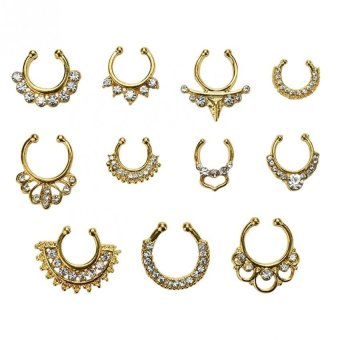 Harga Clicker Crystal Nose Ring Non Piercing Body Jewelry Fake Septum Clip On Hoop Gold - intl