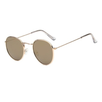 Harga New Sunglasses Trend Round Sunglasses Bright Reflective Sun Glasses-Gold Frame Soil Gold Film - intl