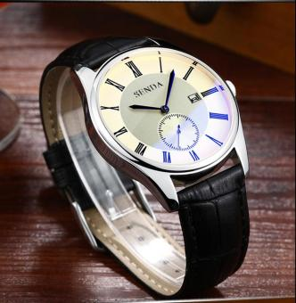 Harga SENDA Brand Men's Classic Roman Numerals Dial Simple Fashion Big Dial High Quality Leather Strap Quartz Wristwatch - intl