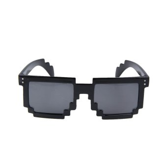 Harga Trendy Unisex Mosaic Style Frame UV Protection Sunglasses Bright Black