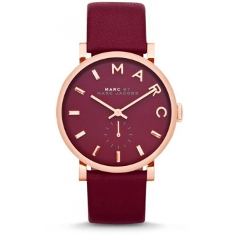 Harga Marc by Marc Jacobs Baker Women's Maroon Leather Watch MBM1267