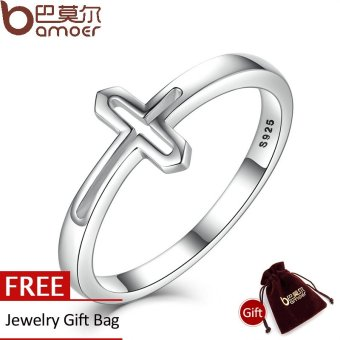 Harga BAMOER Genuine 100% 925 Sterling Silver Symbol Of Faith Cross Rings for Women Luxury Fashion Jewelry SCR033 - intl