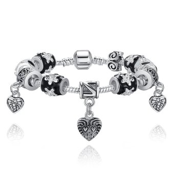 Harga BAMOER Black 925 Silver Heart Bead Charm Bracelet Silver 925 for Women Imitation Jewelry PA1432 - Intl