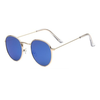 Harga New Sunglasses Trend Round Sunglasses Bright Reflective Sun Glasses-Silver Frame Blue Film - intl