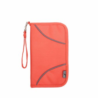 Harga RFID Passport Cover Holder Bag for business multi-function Protect credit card Wallet high-grade fabric case Wallets Orange - intl