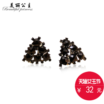 Harga Retro black triangle-Japan and South Korea ear clip no ear hole female sweet earrings Korean temperament earrings exaggerated earrings