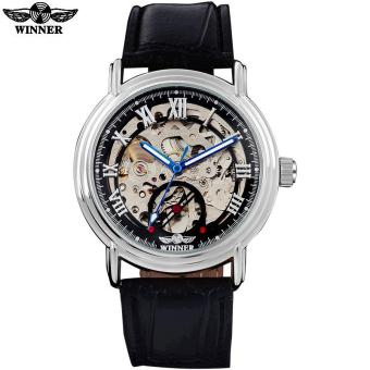 Harga WINNER fashion casual brand men mechanical watches leather strap men's automatic skeleton gold watches male clock reloj hombre