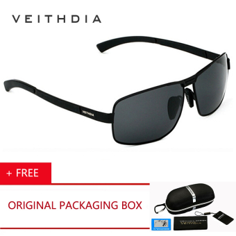 Harga VEITHDIA New UV400 Pilot Men Polarized Sunglasses Brand Logo Design Driving Sun Glasses 2017 Eyewear Accessories 2490 (Black Gray) - intl