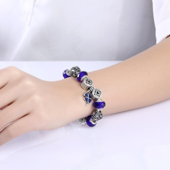 Lucky Clover Pendant Bracelet Bangles Navy Beads Silver Charms Bracelet for Women Jewelry - intl