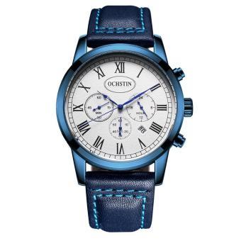 OCHSTIN GQ067A Sport Casual Business Fashion Men Male Wrist Quartz Watch Genuine Leather Strap Stainless Steel