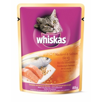 [Pack of 24] Whiskas Pouch Mackerel & Salmon 85g