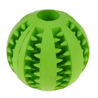 Pet Dog Cat Rubber Ball Chew Treat Cleaning Training Dental Teething(Green)-S