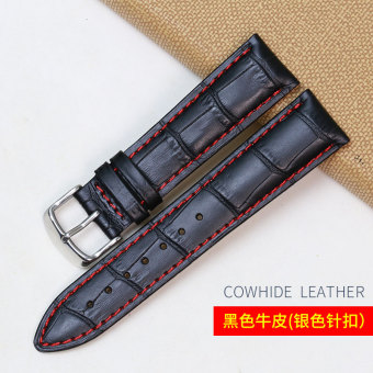 Red 22mm first layer of leather watch strap pin Buckle