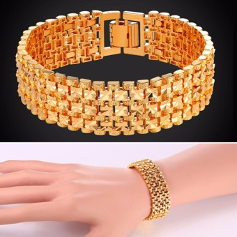 U7 Gold/Platinum Plated Big Chain Bracelet Fashion Jewelry for Men/Women Perfect Party Birthday Gifts Bracelets Accessories (Gold/Silver) - intl