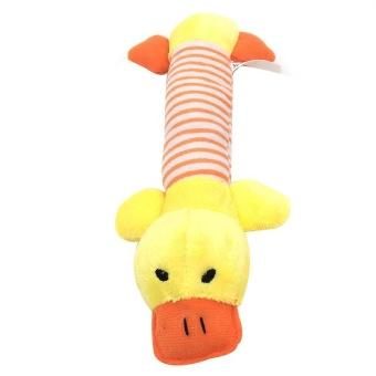 VORSTEK Dog Toys Puppy Chew Squeaker Squeaky Plush Sound Duck Pig Elephant Toys - Yellow -