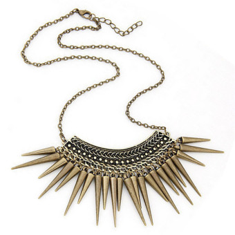 Women Chic Rivet Statement Pendant Necklace Collar Chain Chokers Boho Necklaces Bronze