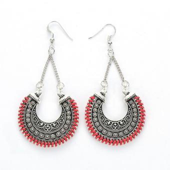 Women Long Statement Ethnic Bohemian Vintage Tassel Earrings (Red) - intl ...