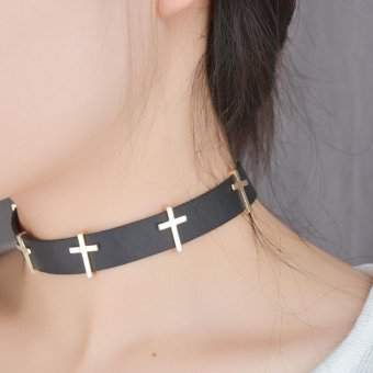 Women PU Leather Choker Necklace Vintage Alloy Cross Collar Necklaces - intl