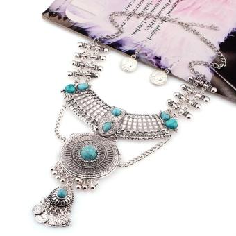 Women Vintage Boho Jewelry Set Multilayer Alloy Gemstone Tassel Pendant Bib Statement Necklace and Earrings Set