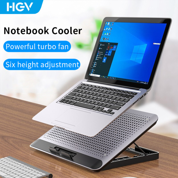 HGV Aluminum Alloy Laptop Cooler Adjustable Laptop Cooling Pad Low Noise Notebook Gaming Cooler Stand Dual USB Ports for 12-17inch Laptop Malaysia