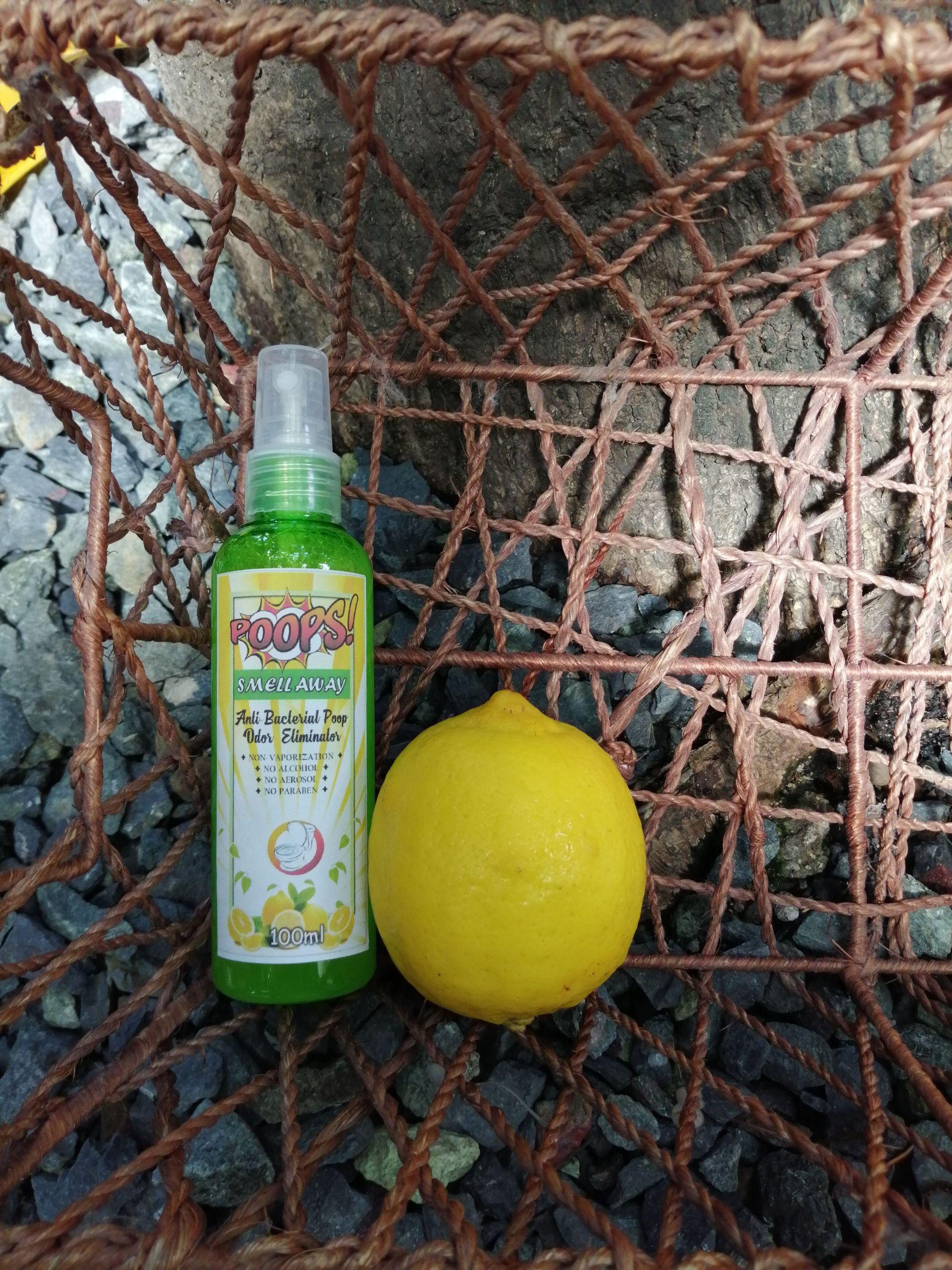 Poops Smell Away Lemon scent 100ml  Anti bacterial poop odor eliminator   Non vaporiza