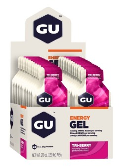 GU Energy Gel Tri-Berry 24 Pack With Free Gift
