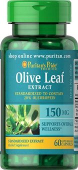 Puritan's Pride Olive Leaf Standardized Extract 150 mg / 60 Capsules / Item #006560