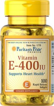 Puritan's Pride Vitamin E-400 IU 400 IU / 100 Softgels Item / #001770