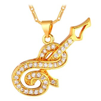 U7 Hamsa Hand Pendant Necklace Luxury Cubic Zirconia Platinum Plated Lucky Charms Gift (Platinum) (EXPORT)