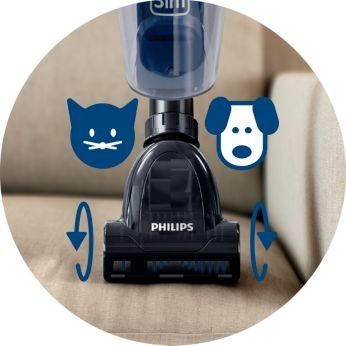 Mini turbo brush for cleaning soft surfaces