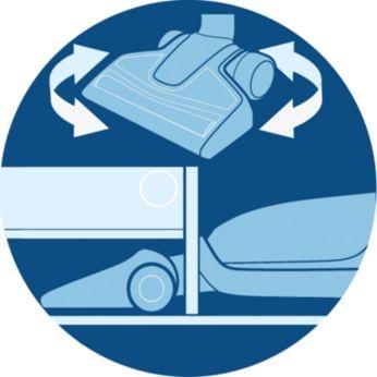 Maximum flexibility to clean difficult areas