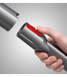 close up image of the Dyson Cinetic Big Ball, focussing on the Quick-release tools.