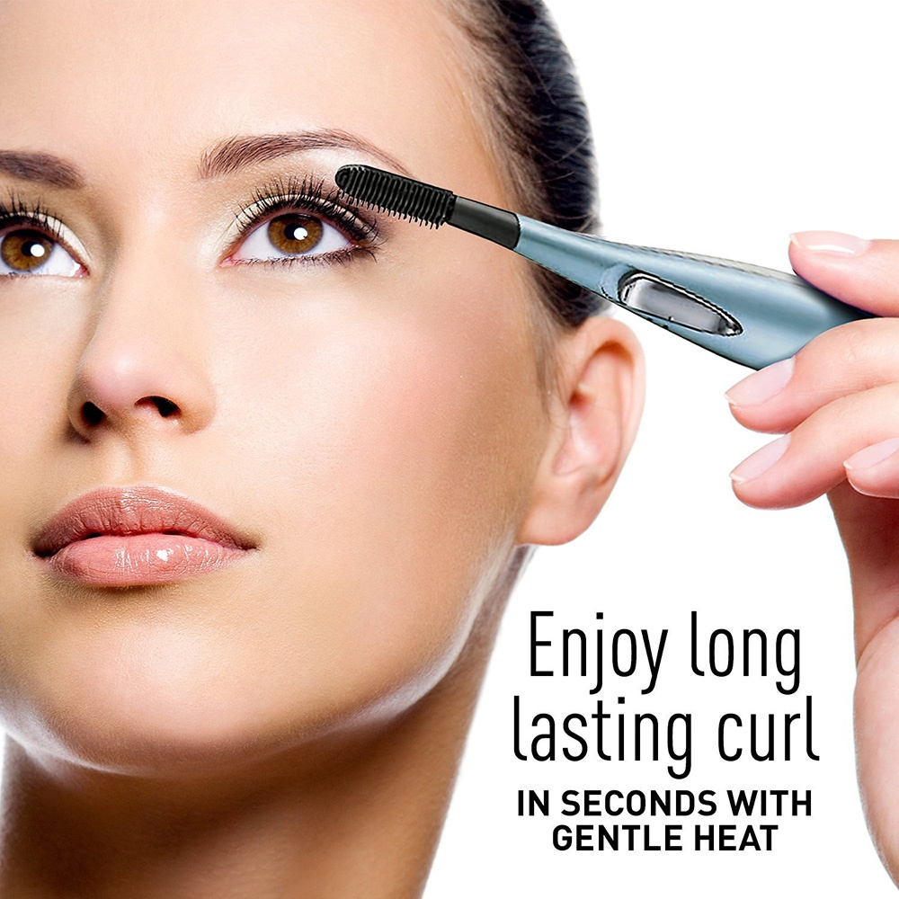 heated eyelash curler results. compact, portable heated electric lash curler and cap slip neatly into purse, bag or makeup case for quick, easy touch-ups away from home; eyelash results