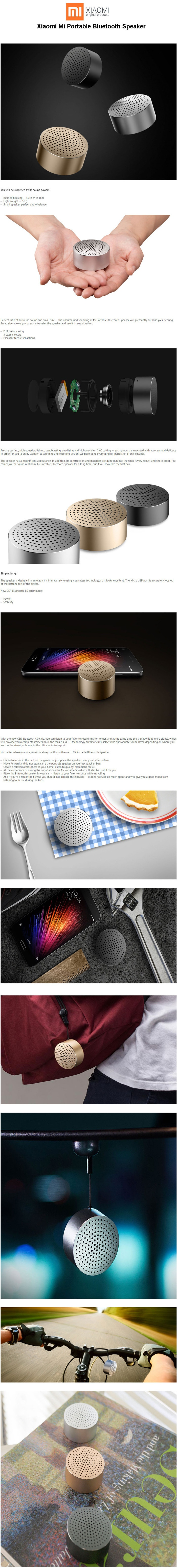 Xiaomi Mi Portable Mini Best Bluetooth 40 Speaker Grey Gold Pportable Specifications Of