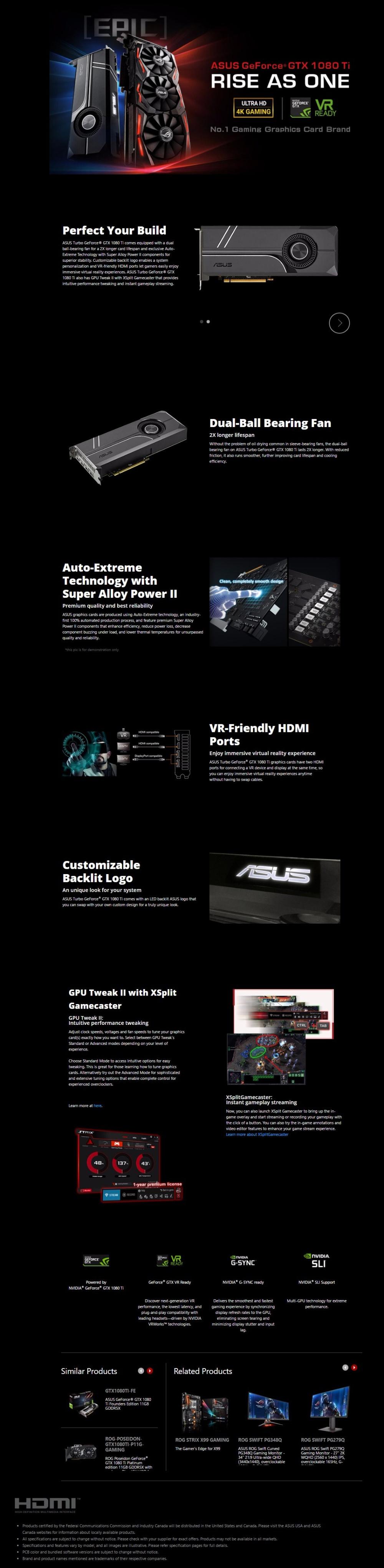Buy ROG Strix GeForce GTX 1080 Ti OC edition 11GB GDDR5X with Aura Sync RGB  for best VR & 4K gaming Singapore