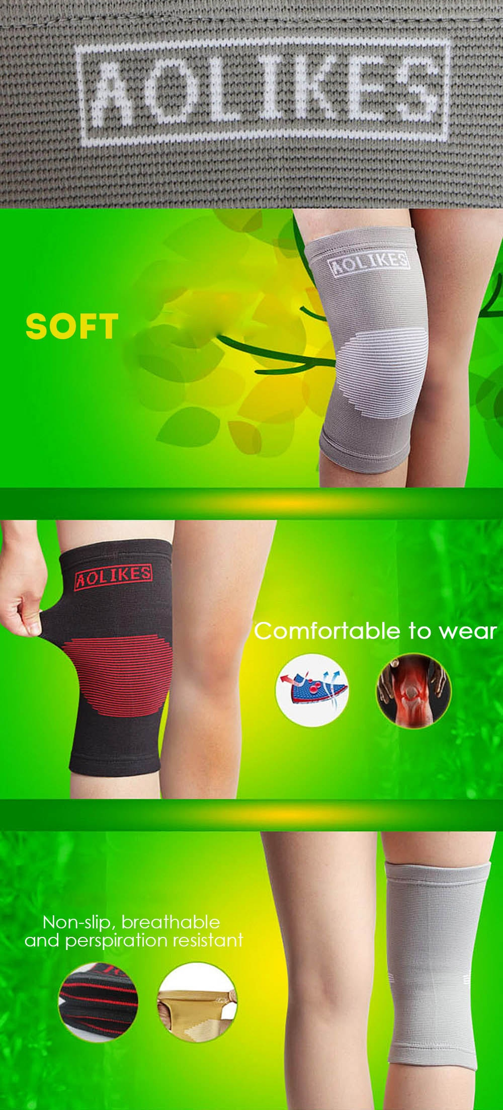 Aolikes A - 7516 Elastic Sports Basketball Volleyball Leg Knee Support Brace Dancing Wrap Protector Pad