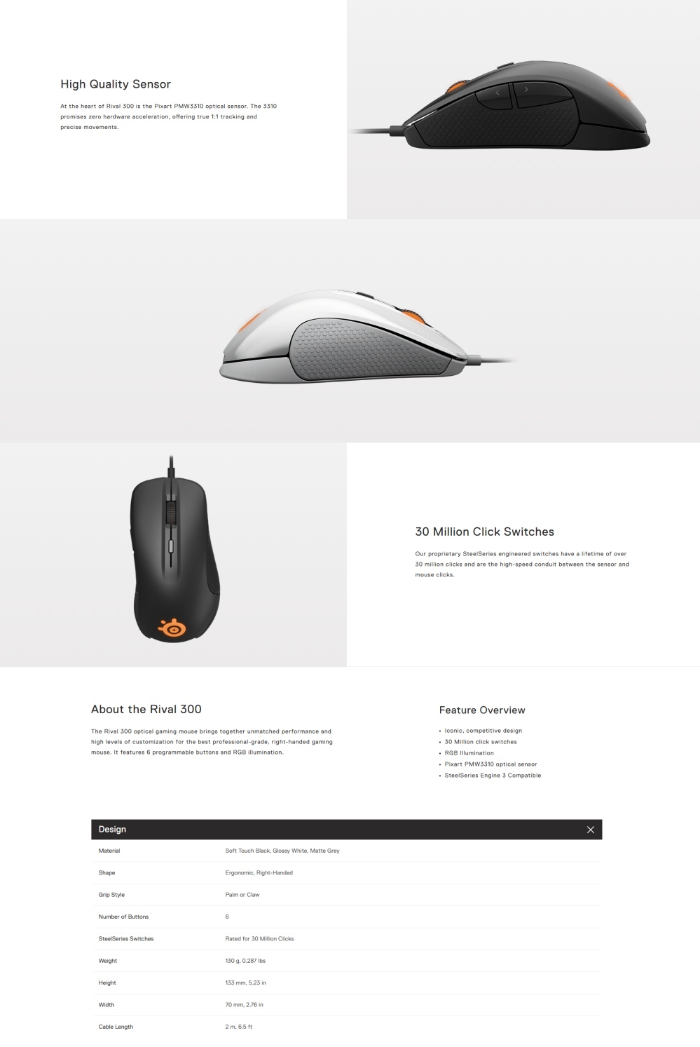 Steelseries Rival 300 Mouse (White) Singapore