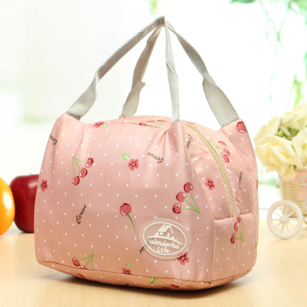 insulated thermal lunch box storage bag bento carry totes picnic pouch container pink cherry. Black Bedroom Furniture Sets. Home Design Ideas