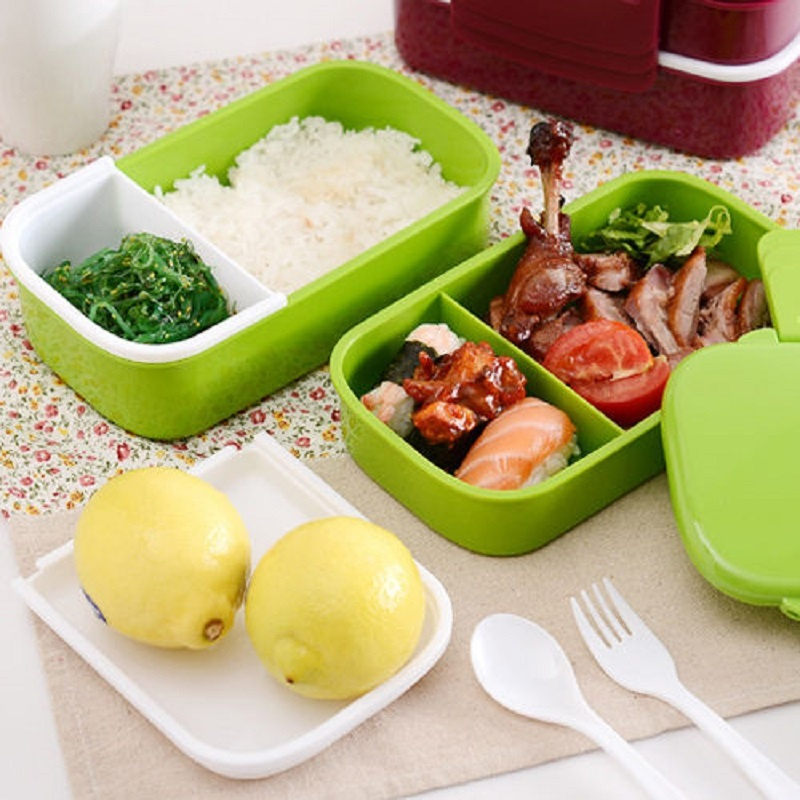microwave plastic bento lunch box container large storage spoon fork grey l. Black Bedroom Furniture Sets. Home Design Ideas