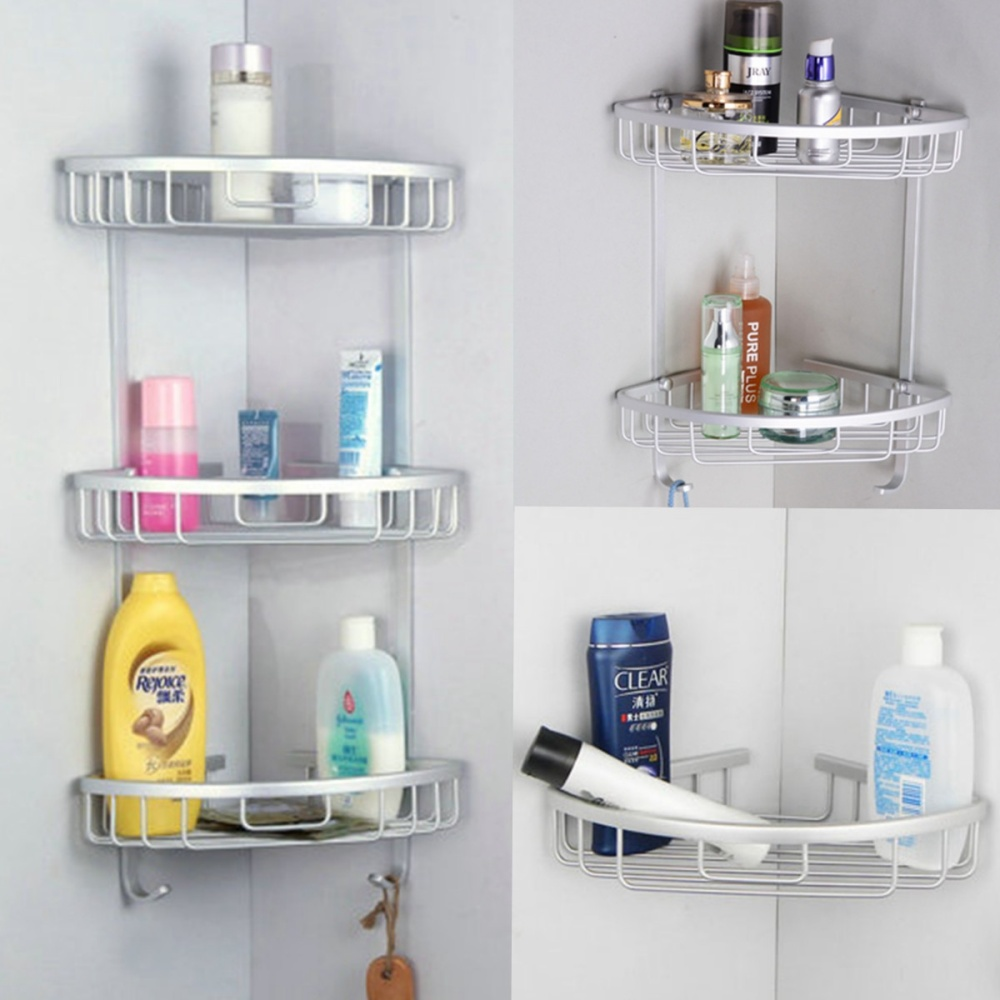 3 Tier Shower Bathroom Shelf Corner Rack Organiser ...