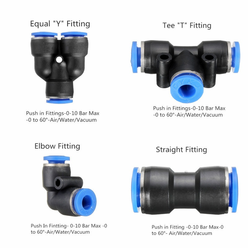 Pneumatic Push In Fittings For Air Water Hose Tube
