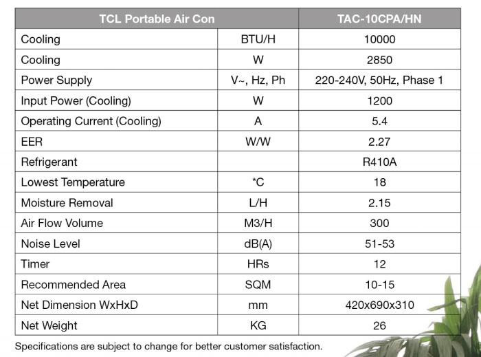 Tcl 10000btu Portable Air Con W Auto Evaporation Tac10cpa