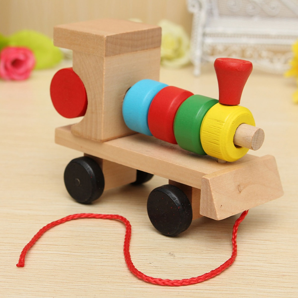 Wooden Toys For Pre School : Educational kid baby wooden solid wood stacking train