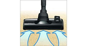 AeroSeal nozzle captures more dust and fluff per stroke