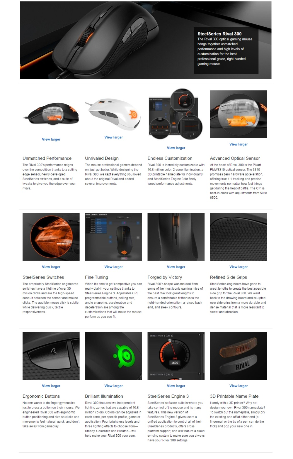 Specifications of SteelSeries Rival 300, Optical Gaming Mouse - Silver