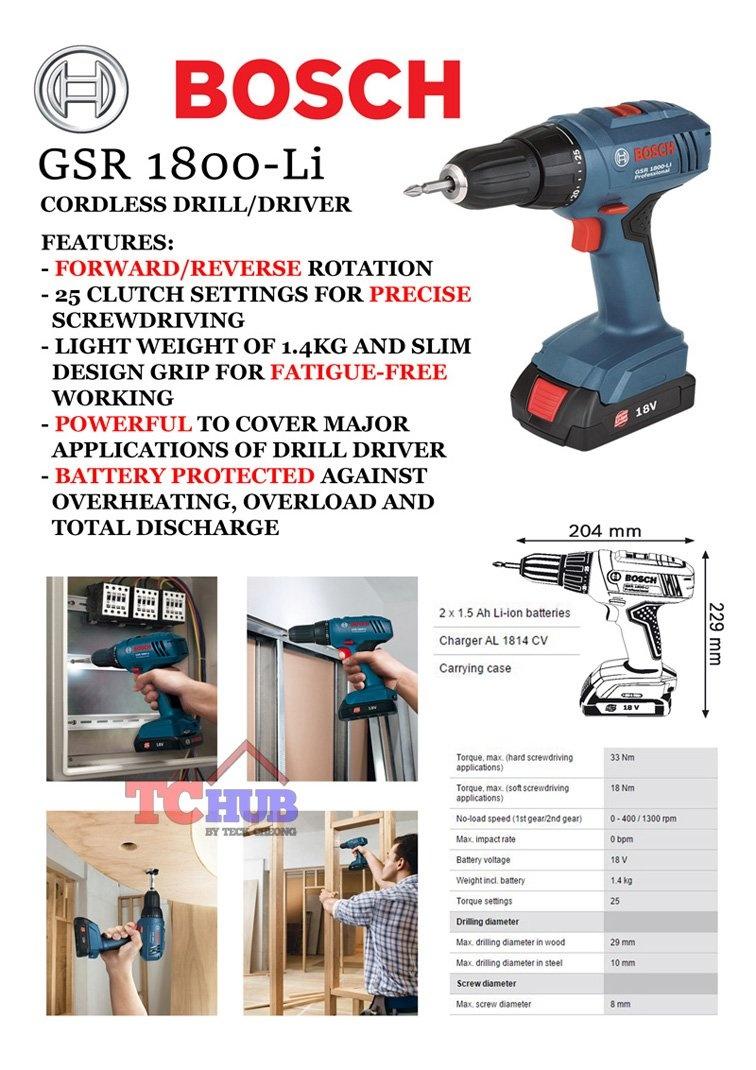 Bosch Cordless Driver Drill 18V GSR 1800-Li | Lazada Singapore