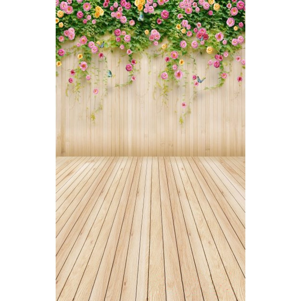 3x5ft flower wood wall vinyl background photography photo studio props - Image
