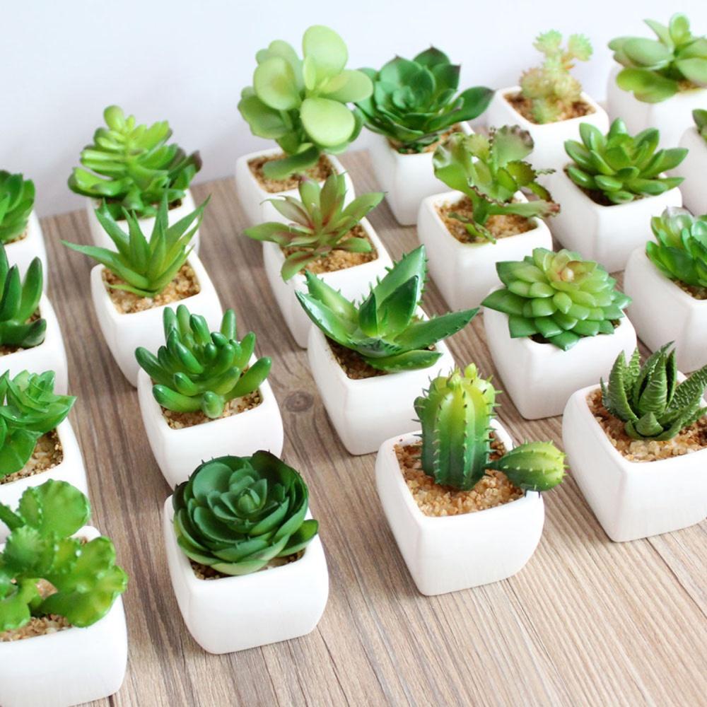 niceeshop set of 4 modern white ceramic mini potted artificial succulent plants lazada singapore. Black Bedroom Furniture Sets. Home Design Ideas