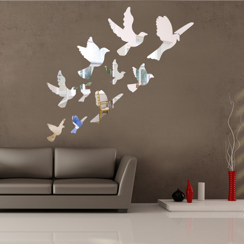 acrylic birds mirror effect mural wall sticker removable