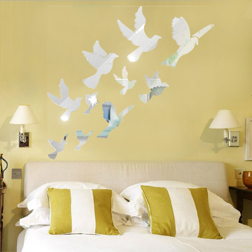 Acrylic birds mirror effect mural wall sticker removable for Room decor lazada
